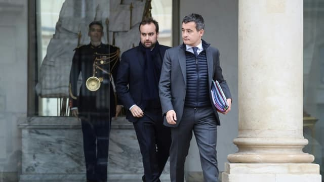 Le ministre de l'Intérieur Gérald Darmanin (D) et le ministre des Outre-Mer Sébastien Lecornu, le 23 janvier 2019 à Paris