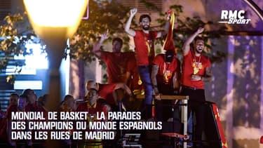 Mondial de basket - La parade des champions du monde espagnols dans les rues de Madrid