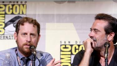 """Scott Gimple, producteur de la série """"The Walking dead"""", lors d'une table-ronde réunissant des acteurs et des membres de l'équipe au grand salon de la bande dessinée Comic-Con de San Diego, le 22 juillet 2016."""