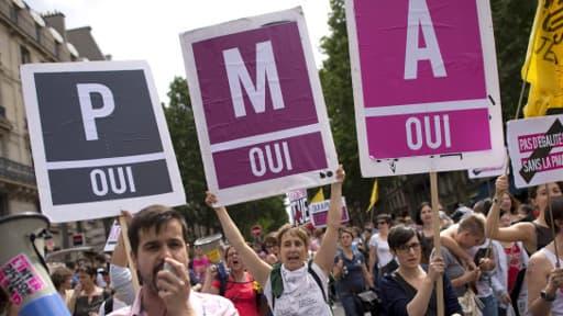 Des manifestants favorables à la PMA lors de la Marche des fiertés à Paris en 2013.
