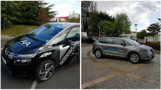 A ma gauche, le C4 Picasso autonome du groupe PSA, à ma droite l'Espace autonome de Renault.