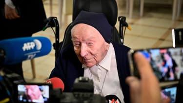 Sœur André au moment de fêter ses 116 ans le 11 février 2020.