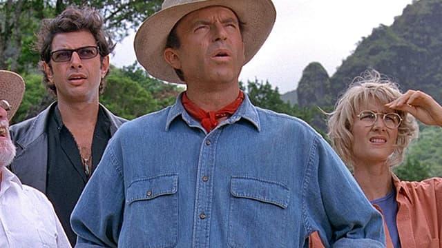 Jeff Goldblum, Sam Neill et Laura Dern dans Jurassic Park en 1993.