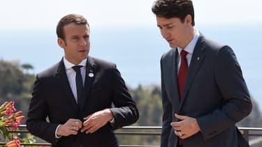 Emmanuel Macron et Justin Trudeau lors du G7 à Taormine, en Sicile, le 26 mai 2017.
