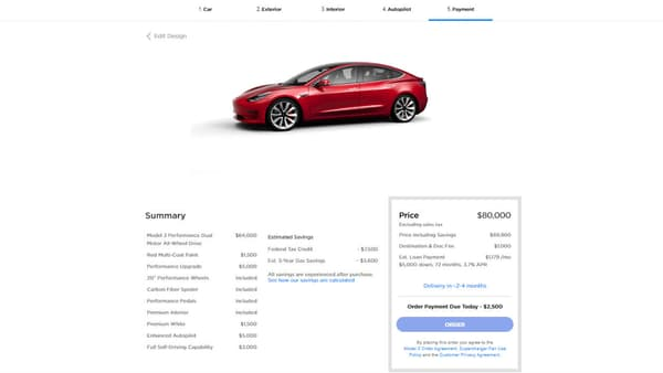 "Notre Model 3 Performance et ""full options"" à 80.000 dollars."