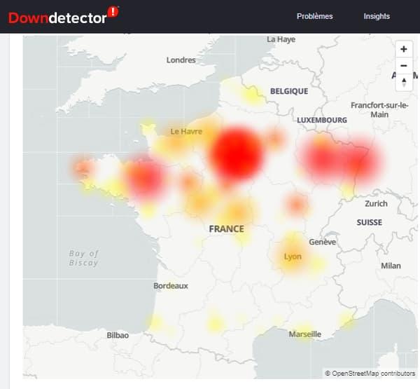 La carte des pannes Bouygues Telecom sur Downdetector, le 2 décembre 2020