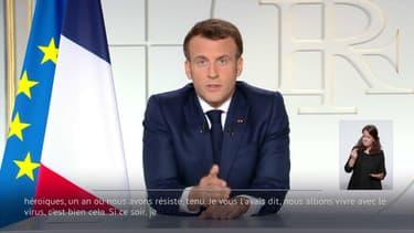 Emmanuel Macron lors de son allocution du 31 mars 2021