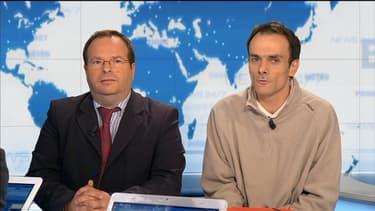 Stéphane Assayag et Etienne Baillon, futurs époux, sur BFMTV le 28 mai 2013.