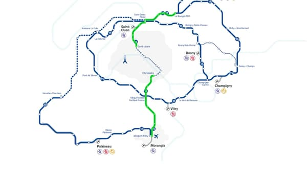 En vert, les deux tronçons de la ligne 14 qui vont être sécurisés.