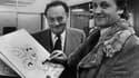 René Goscinny (à gauche) et son complice, le dessinateur Albert Uderzo (à droite) dans les années 1970.