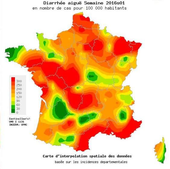 La carte du nombre de cas de gastro-entérite recensés en France.