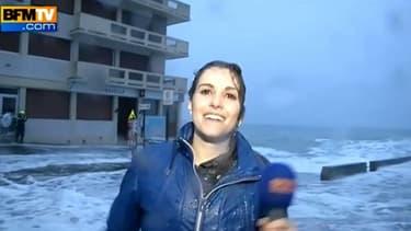 Fanny Agostini a été surprise par une vague, vendredi 20 février 2015 à Sait-Malo.