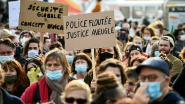 Manifestation contre la loi de sécurité globale, à Marseille, le 21 novembre 2020