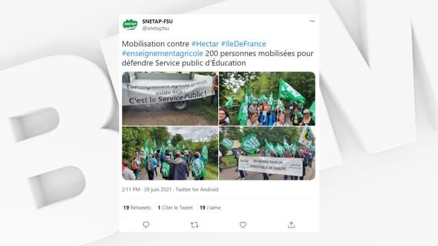 """Plus d'une centaine de manifestants ont protesté contre le projet du campus agricole """"Hectar"""" dans les Yvelines."""
