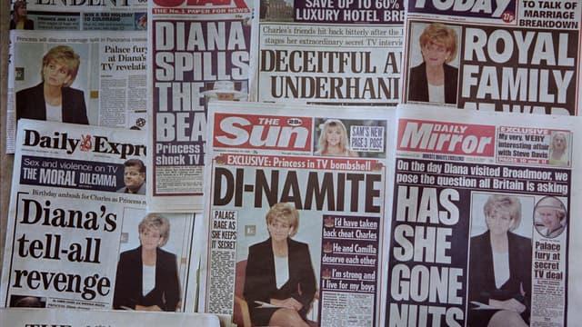 Les unes de la presse britannique, au lendemain de l'entretien-confession de Lady Diana diffusé sur la BBC en 1995.