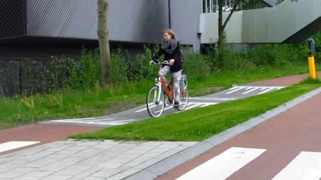 Un ralentisseur sur une piste cyclable aux Pays-Bas.