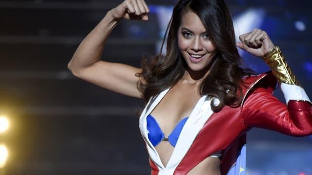 Vaimalama Chaves lors du concours Miss France, quelques heures avant d'être couronnée