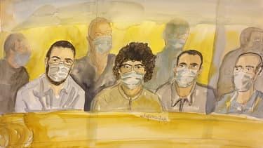 Ayoub El Khazzani, Mohamed Bakkali, Bilal Chatra et Redouane El Amrani Ezzerrifi au procès de l'attaque du Thalys, le 16 novembre 2020 à Paris.