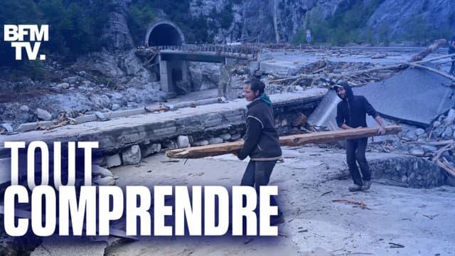 Des sinistrés en train de déblayer les débris après les intempéries dans les Alpes-Maritimes.