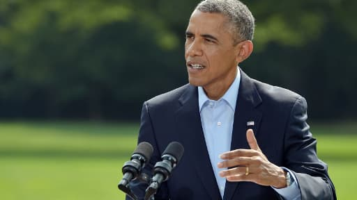 Barack Obama s'exprimant sur l'Irak, samedi 9 août 2014.
