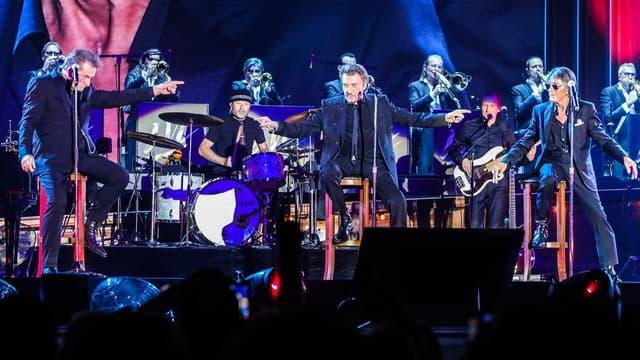Eddy Mitchell, Johnny Hallyday et Jacques Dutronc, les Vieilles Canailles en concert.