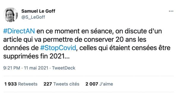 Message erroné relayé sur Twitter au sujet de StopCovid/TousAntiCovid