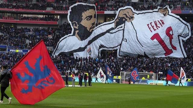 Un tifo à la gloire du geste de Nabil Fekir lors du derby de la saison 2017/2018.