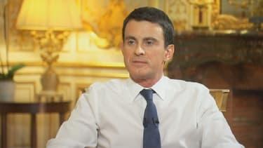 Manuel Valls lorsqu'il a reçu BFMTV à Matignon début janvier