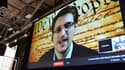 Edward Snowden, lundi, lors de son intervention en direct par vidéo interposée.