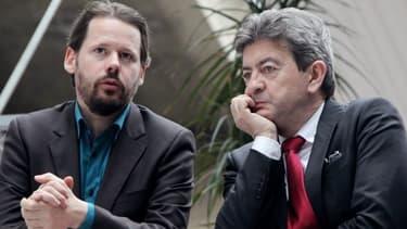 François Delapierre (ici avec Jean-Luc mélenchon) a fustigé la tribune cosignée par François Hollande et Barack Obama.