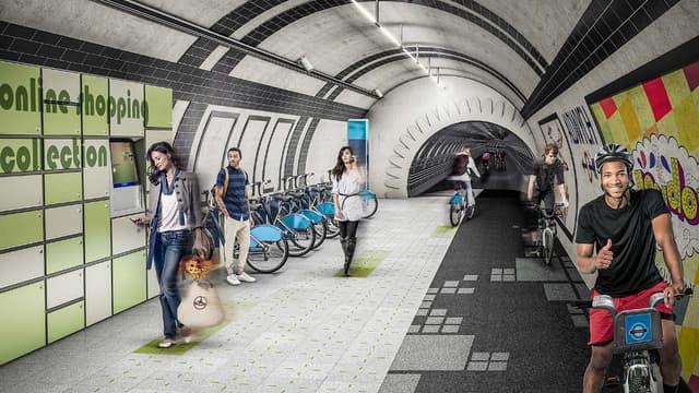 Vision de ce que pourrait être à Londres le futur réseau de voies piétonnes et de pistes cyclables souterraines, avec récupération de l'énergie cinétique générée par les usagers.
