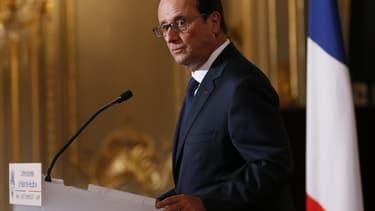François Hollande lors de sa conférence de presse à l'Elysée, le 18 septembre 2014.