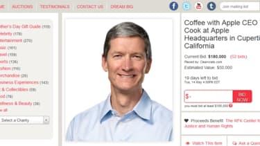 Capture d'écran de l'annonce pour un café avec Tim Cook, le patron d'Apple.