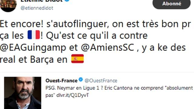 Le tweet d'Etienne Didot
