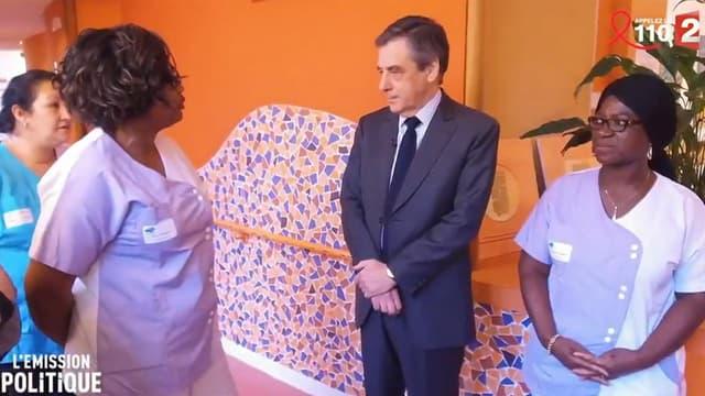 """François Fillon dans """"L'Emission politique"""" de France 2, face à des aides-soignantes."""