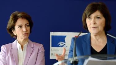 """La ministre de la Santé Marisol Touraine et la ministre des Personnes handicapées, Marie-Arlette Carlotti présentent le """"plan autisme"""", le 2 mai 2013."""