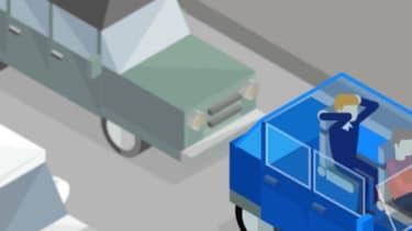 Le conducteur au volant utilise le pédalier pour faire du vélo d'appartement, alors que le passager arrière fait du rameur avec son siège.