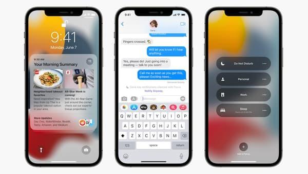 Screenshot of the iOS 15 interface