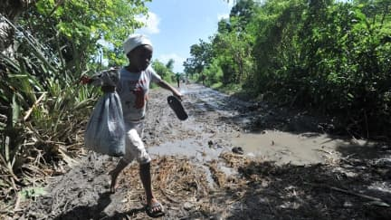 Un enfant traverse un champ dévasté d'Haïti. 51 personnes sont mortes dans le pays après le passage du cyclone Sandy.