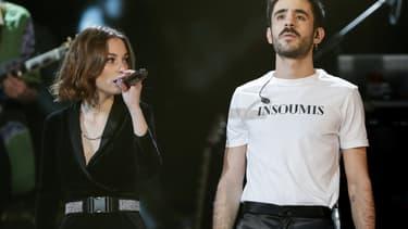 Adélaïde Chabannes et Raphaël Faget-Zaoui, deux des membres de Therapie Taxi, sur la scène des Victoires de la musique 2019