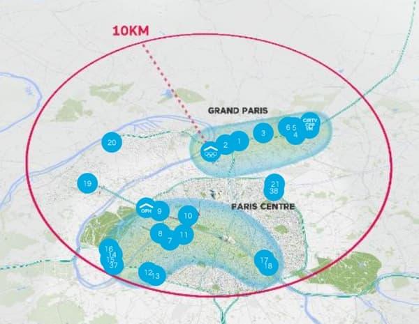 Carte des sites prévus pour les JO 2024