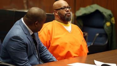 """Marion """"Suge"""" Knight et son avocat lors d'une audition en février 2016. Le créateur du label Death Row est accusé de meurtre et de tentative de meurtre, après une dispute, en janvier 2015."""