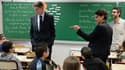 Vincent Peillon et Najat Vallaud-Belkacem en janvier 2014 dans une école de Villeurbanne, pour présenter les ABCD de l'égalité.