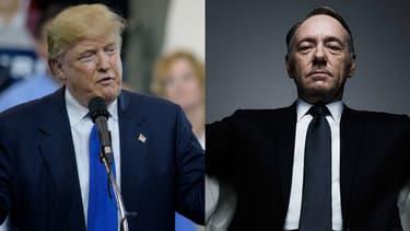 """Donald Trump, président des Etats-Unis et Kevin Spacey, qui incarne le  président des Etats-Unis Frank Underwood dans la série """"House of Cards""""."""
