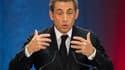 Nicolas Sarkozy jeudi soir, à Lambersart, pour son premier meeting en tant que candidat pour la présidence de l'UMP.
