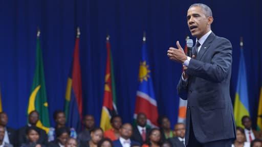 Barack Obama lors d'une réunion avec de jeunes entrepreneurs africains à Washington, en préparation du sommet Etats-Unis Afrique.
