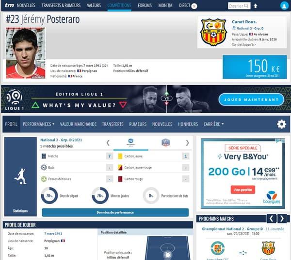 La fiche Transfermarkt de Jérémy Posteraro, héros du Canet contre l'OM en Coupe de France