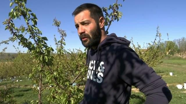 Joris, arboriculteur à Moras-en-Valloire (Drôme), victime de l'épisode de gel d'avril 2021.