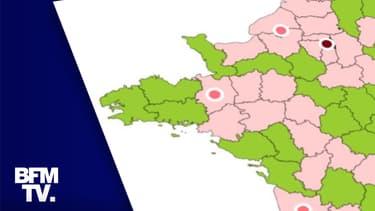 """Les """"zones"""" attribuées à chaque département au 8 octobre."""