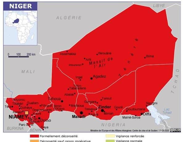 La carte du Niger sur le site du ministère.